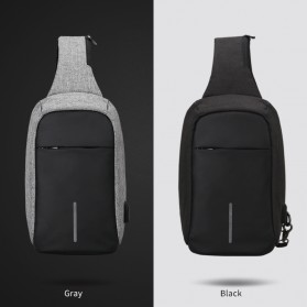Mark Ryden Tas Selempang Anti Maling Crossbody Bag dengan USB Charger Port - MR5898 - Black/Gray - 6