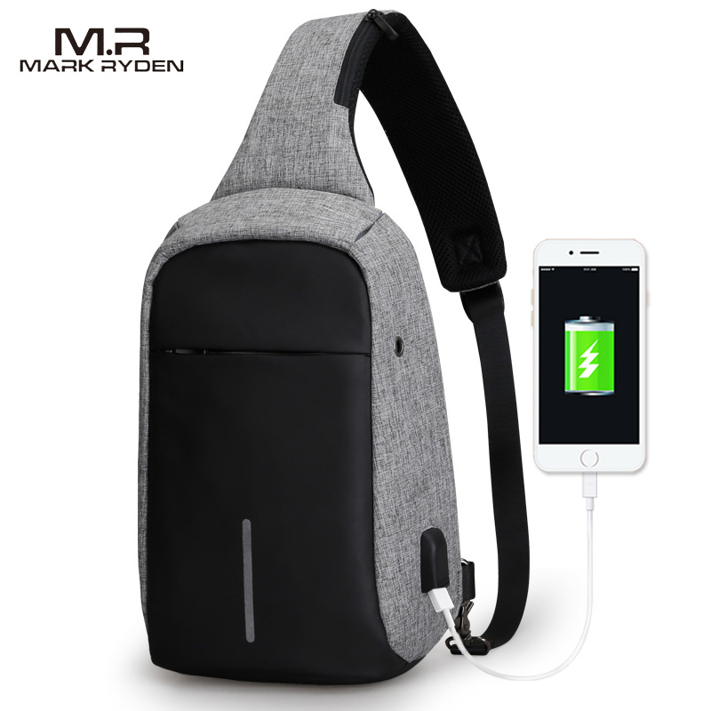 ... Mark Ryden Tas Selempang Anti Maling dengan USB Charger Port - MR5898 -  Black Gray ... fd6bc84317