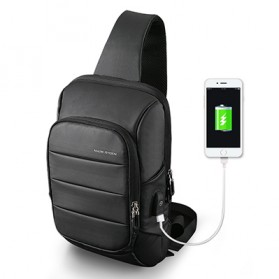 Mark Ryden Tas Selempang Crossbody Bag dengan USB Charger Port - MR-P9084 - Black