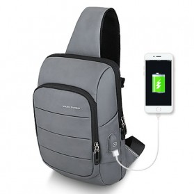 Mark Ryden Tas Selempang Crossbody Bag dengan USB Charger Port - MR-P9084 - Gray
