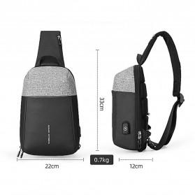 Mark Ryden Tas Selempang Anti Maling Crossbody Bag dengan USB Charger Port - MR7000 - Black/Gray - 10