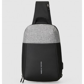 Mark Ryden Tas Selempang Anti Maling Crossbody Bag dengan USB Charger Port - MR7000 - Black/Gray