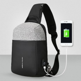 Mark Ryden Tas Selempang Anti Maling Crossbody Bag dengan USB Charger Port - MR7000 - Black/Gray - 2