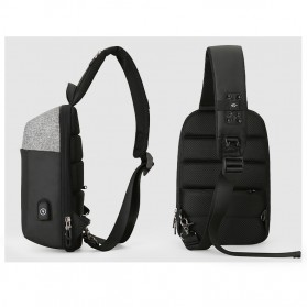 Mark Ryden Tas Selempang Anti Maling Crossbody Bag dengan USB Charger Port - MR7000 - Black/Gray - 3