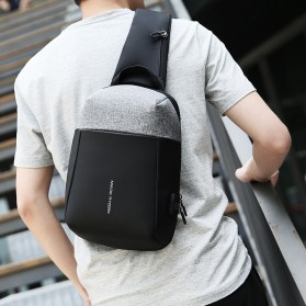Mark Ryden Tas Selempang Anti Maling Crossbody Bag dengan USB Charger Port - MR7000 - Black/Gray - 5