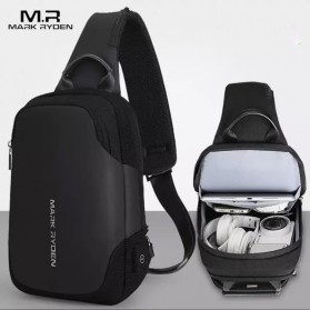 Mark Ryden Tas Sling Bag dengan USB Charger Port - MR7056 - Black - 2