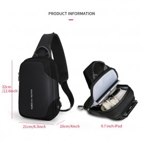 Mark Ryden Tas Sling Bag dengan USB Charger Port - MR7056 - Black - 4