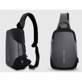 Mark Ryden Tas Sling Bag dengan USB Charger Port - MR7056 - Black - 6