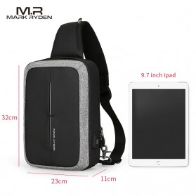 Mark Ryden Tas Selempang Anti Maling Crossbody Bag dengan USB Charger Port - MR7011 - Black/Gray - 2