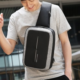 Mark Ryden Tas Selempang Anti Maling Crossbody Bag dengan USB Charger Port - MR7011 - Black/Gray - 5
