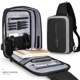 Mark Ryden Tas Selempang Anti Maling Crossbody Bag dengan USB Charger Port - MR7011 - Black/Gray - 7