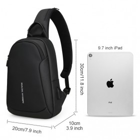Mark Ryden Tas Selempang Crossbody Bag dengan USB Charger Port - MR7191 - Black - 5