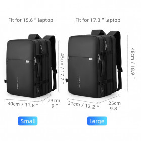 Mark Ryden Tas Ransel Laptop Multi-layer Space 17 Inch dengan USB Charger Port - MR8057 - Black - 6