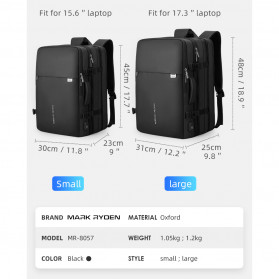 Mark Ryden Tas Ransel Laptop Multi-layer Space 17 Inch dengan USB Charger Port - MR8057 - Black - 9