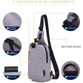 TINYAT Tas Selempang Sling Bag Crossbody Messenger - T610 - Dark Gray - 6