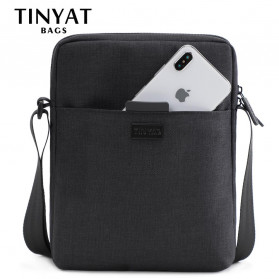 TINYAT Tas Selempang Crossbody Bag Canvas Pria for iPad 7.9 Inch - T-510 - Black