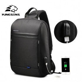 Kingsons Tas Selempang Crossbody Bag dengan USB Charger Port - KS3165W - Black