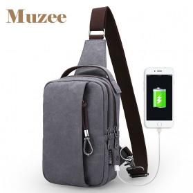 Muzee Tas Selempang dengan USB Charger Port dengan Dompet - Coffee - 2