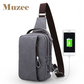 Muzee Tas Selempang Crossbody Bag dengan USB Charger Port dengan Dompet - Navy Blue - 2