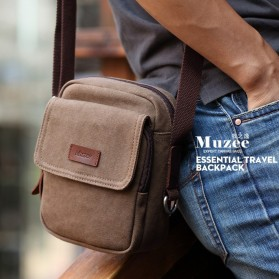 MUZEE Tas Selempang Pria Messenger Bag Bahan Kanvas Size S - ME-1568 - Black - 3