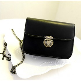 Tas Messenger Vintage Wanita Handbag PU Leather - Black