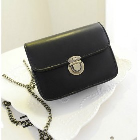Tas Messenger Vintage Wanita Handbag PU Leather - Black - 2