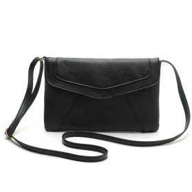 Tas Selempang Wanita Casual Leather Messenger Handbag - Black