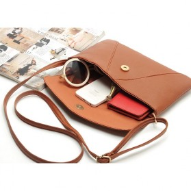 Tas Selempang Wanita Casual Leather Messenger Handbag - Black - 3