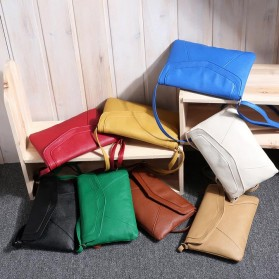 Tas Selempang Wanita Casual Leather Messenger Handbag - Black - 8