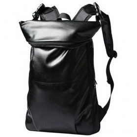 Tas Ransel Korean Style City PU Leather Backpack - Black