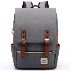 Wenjie Tas Ransel Canvas Retro - Light Gray