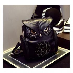 Tas Ransel Kulit Wanita Model Cute Owl - Black - 2