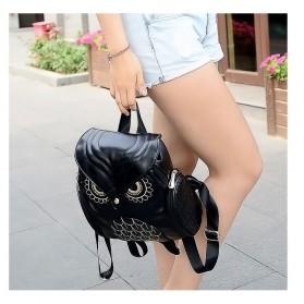 Tas Ransel Kulit Wanita Model Cute Owl - Black - 3