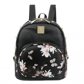 Tas Ransel Backpack Korea Butterfly Flower - Black