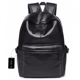 Tas Ransel Laptop / Backpack Notebook - AbleMe Tas Ransel Korean Style PU Leather Backpack - Black
