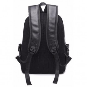 AbleMe Tas Ransel Korean Style PU Leather Backpack - Black - 3