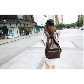 AbleMe Tas Ransel Korean Style PU Leather Backpack - Black - 5