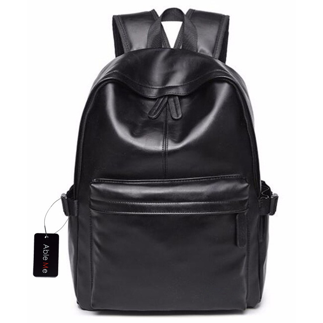 ... AbleMe Tas Ransel Korean Style PU Leather Backpack - Black - 1 ... d5bf6ce857