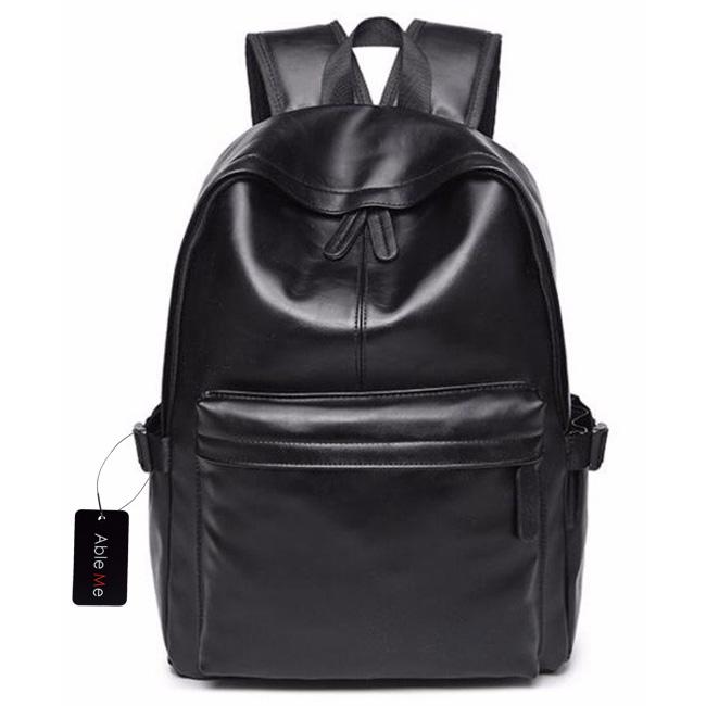 ... AbleMe Tas Ransel Korean Style PU Leather Backpack - Black - 1 ...