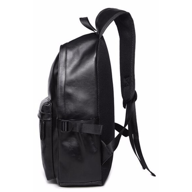 ... AbleMe Tas Ransel Korean Style PU Leather Backpack - Black - 2 ...