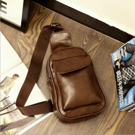 Aelicy Tas Selempang Crossbody Bag Retro Bahan Kulit - 366 - Dark Brown