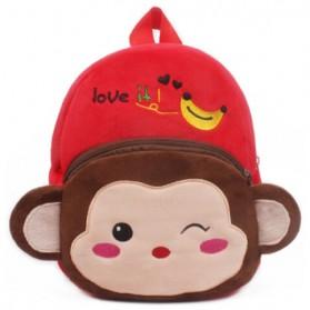 Tas Sekolah Anak Karakter Kartun Monkey - Red