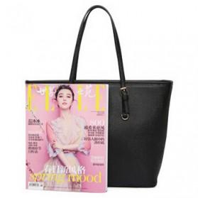 Tas Jinjing Kulit Shoulder Bag Retro Wanita - Black - 5