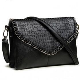 Tas Selempang Kulit Minimalis Shoulder Bag Wanita - Black