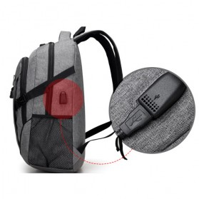 Meijieluo Tas Ransel Laptop Oxford Pria dengan USB Charger Port - Black - 4