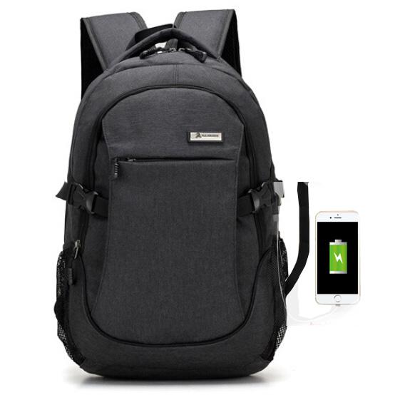 ... Meijieluo Tas Ransel Laptop Oxford Pria dengan USB Charger Port - Black  - 1 ... a57ab894e0