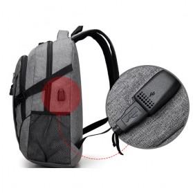 Meijieluo Tas Ransel Laptop Oxford Pria dengan USB Charger Port - Gray - 4