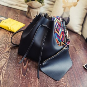 Tas Selempang Kasual Wanita Colorful Strap - Black