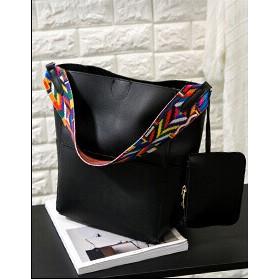 Tas Tote Bag Wanita Colorful Strap - Black