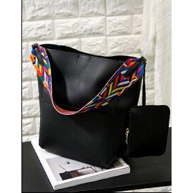 ... Tas Tote Bag Wanita Colorful Strap - Black - 1 ...